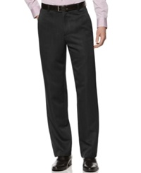 Kenneth Cole Reaction Straight Fit Texture Stria Flat Front Dress Pants Black