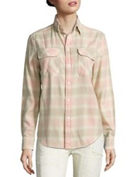 Polo Ralph Lauren Cotton Flannel Plaid Shirt Cream Pink