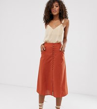 Asos Design Tall Button Front Midi Skirt Red