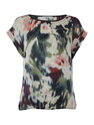 La Fee Maraboutee Short Sleeved Top Printed Round Neck Grey