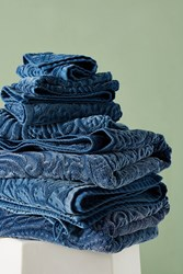 Kassatex Francesca Sculpted Paisley Towel Collection Navy