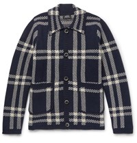 A.P.C. Plaid Wool Cardigan Navy