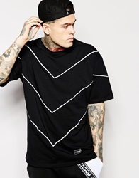 Jaded London Longline T Shirt In Skater Fit With Chevron 3M Print Black