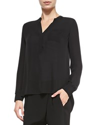 Vince Long Sleeve Blouse W Half Placket Women's