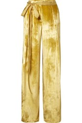 Adam By Adam Lippes Moire Trimmed Velvet Wide Leg Pants Yellow
