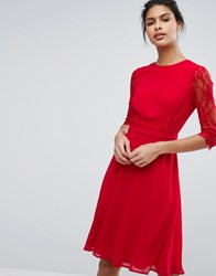 Elise Ryan Midi Skater Dress With Lace Waist And Sleeve Red