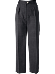 Celine Vintage Windowpane Check Trouser Grey