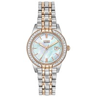 Citizen Ew1686 59P 'S Eco Drive Silhouette Crystal Bracelet Strap Watch Silver Gold