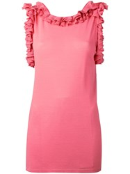 Ermanno Scervino Ruffled Neck And Sleeve Tank Pink Purple