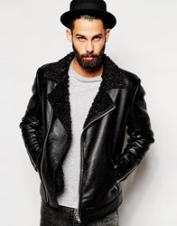 Asos Faux Leather Biker With Curly Faux Shearling Lapel Black
