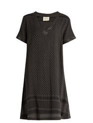 Cecilie Copenhagen Short Sleeved Scarf Jacquard Cotton Dress Khaki