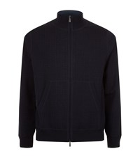 Canali Zip Up Knit Jumper Male Navy