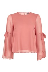 Topshop Chiffon Flute Tie Sleeve Top Dusty Pink