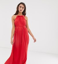 People Tree High Neck Maxi Dress In Organic Cotton Red