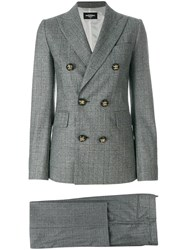 Dsquared2 Checked Trouser Suit Grey