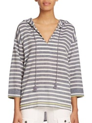 Soft Joie Baja Striped Hooded Pullover Peacoat