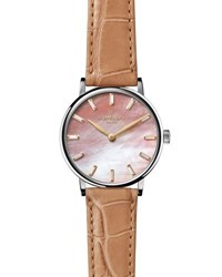 Gomelsky By Shinola Agnes Varis 32Mm Alligator Strap Watch With Diamonds Pink Natural