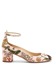 Aquazzura For De Gournay Embroidered Pumps Pink Multi