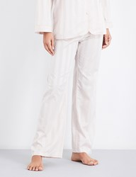 Bodas Striped Cotton Pyjama Trousers Blush Pink