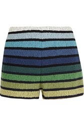 Sonia Rykiel Striped Cotton Blend Terry Shorts Blue