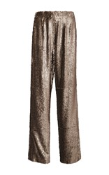 Prabal Gurung Metallic Sequined Relaxed Fit Pants Gold