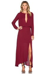 Krisa Deep V Slit Maxi Dress Wine