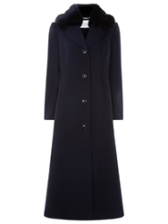 Windsmoor Faux Fur Trim Coat Navy