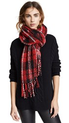 Free People Emerson Plaid Scarf Red