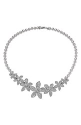 Nina Women's Crystal And Faux Pearl Frontal Necklace