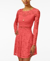 Material Girl Juniors' Lace Illusion Skater Dress Only At Macy's Rose