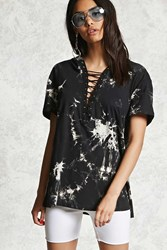 Forever 21 Crystal Wash Strappy Hooded Tee Black Tan