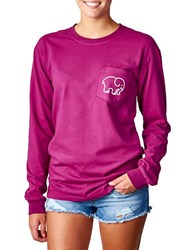 Ivory Ella Empire Pigment Dyed Long Sleeve T Shirt Raspberry