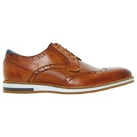 Bertie Baker Hill Gibson Leather Wingtip Shoes Tan Leather