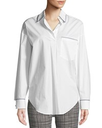 Piazza Sempione Long Sleeve Button Down Cotton Tunic Shit W Contrast Piping White