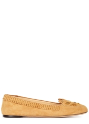 Charlotte Olympia Moccasin Kitty Ochre Suede Loafers