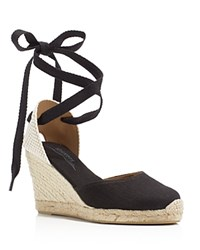 Soludos Tall Lace Up Espadrille Wedge Sandals Black