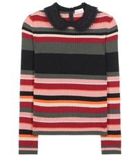 Red Valentino Wool Angora And Cashmere Blend Sweater Multicoloured
