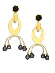Lizzie Fortunato Gazelle 9Mm Peacock Freshwater Pearl Drop Earrings Gold