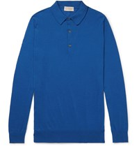 John Smedley Lanlay Slim Fit Sea Island Cotton And Cashmere Blend Polo Shirt Blue