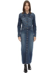 Mother The Cover Up Cotton Denim Midi Dress Light Blue