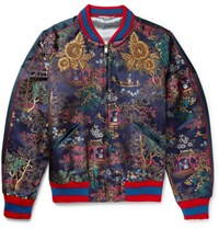 Gucci Embroidered Jacquard Bomber Jacket Navy