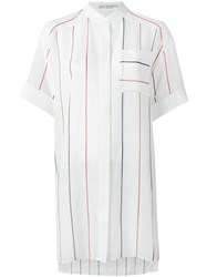 Alice Olivia Striped Loose Fit Shirt White