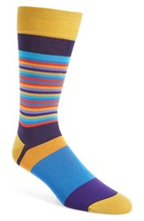 Bugatchi Men's 'Thin Stripe Bold Stripe' Socks Mauve