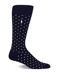 Polo Ralph Lauren Polka Dot Dress Socks Navy White