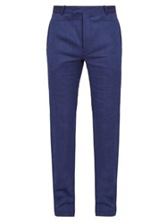 Frescobol Carioca Straight Leg Linen Blend Trousers Navy