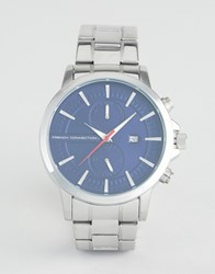French Connection Watch With Blue Dial Silver