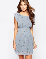 Iska Shirred Waist Dress In Twin Owl Print Grey
