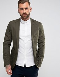 New Look Slim Fit Cotton Mix Blazer In Khaki Khaki Green