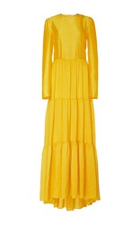 Philosophy Di Lorenzo Serafini Silk Tiered A Line Gown Yellow
