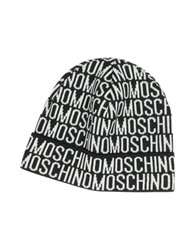 Moschino Signature Woven Wool Blend Men's Hat Black White